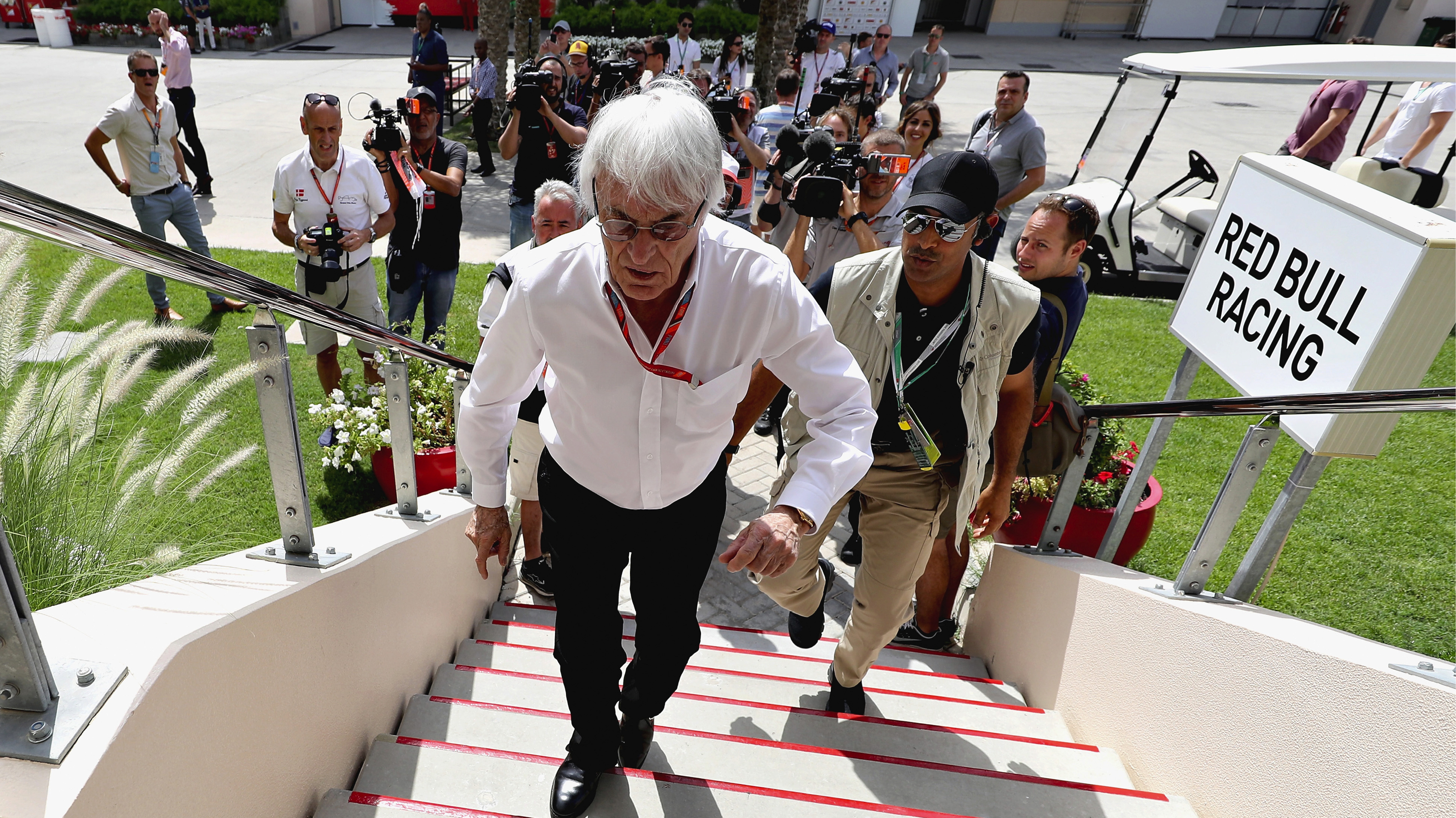 Bernie Ecclestone, former chief executive and current chairman emeritus of the Formula One Group, arrives at the Bahrain Grand Prix in April