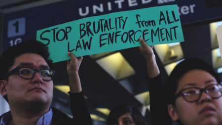Demonstrators at Chicago O'Hare International Airport last month