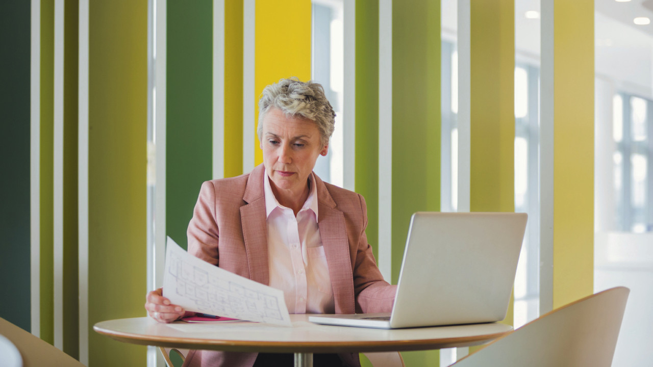 Lady researching retirement
