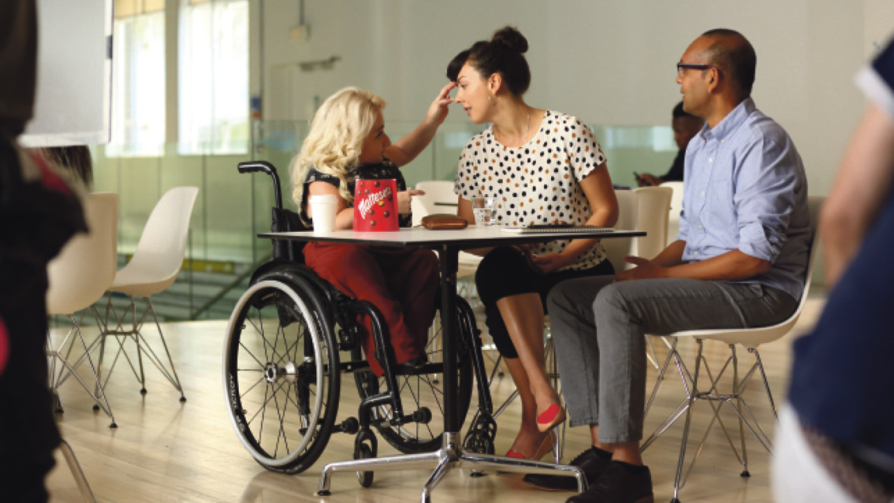 Maltesers' Look on the light side adverts, created by AMV BBDO in collaboration with Scope, starred actors with a range of disabilities