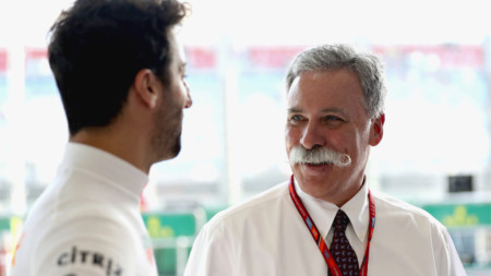 Red Bull's Daniel Ricciardo with Chase Carey, the chief executive and executive chairman of the Formula One Group
