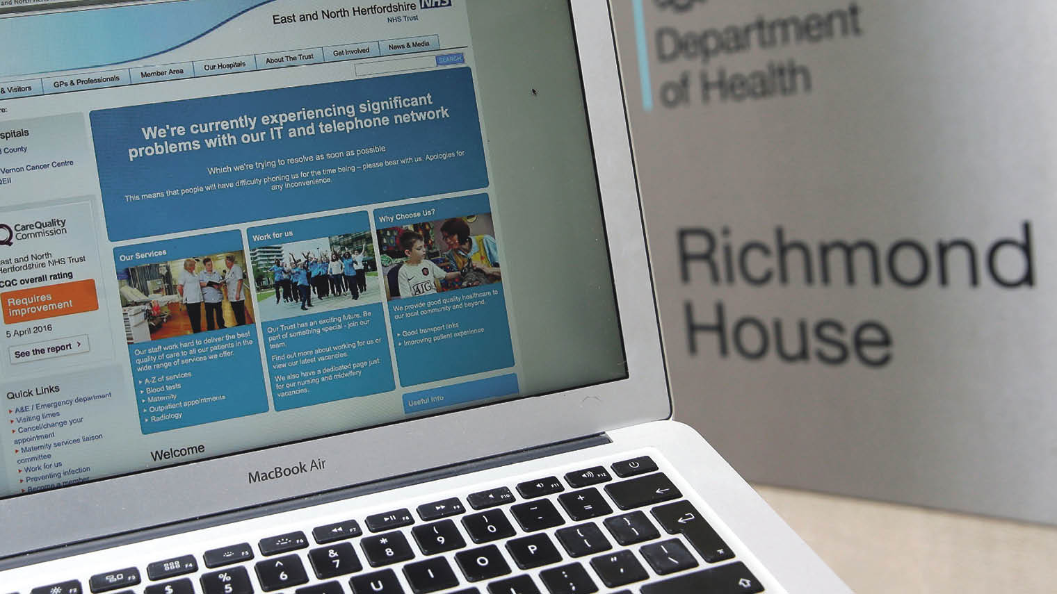 Screenshot of the NHS website when a ransomware attack disrupted health services on May 12