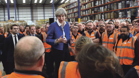 Theresa May at a questionand-answer session with workers at Screwfix in Stoke-on-Trent during the Conservatives' general election campaign