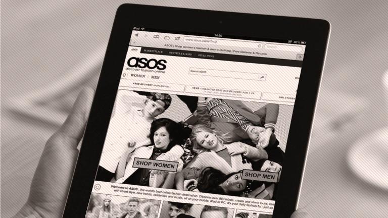 Tablet showing Asos website