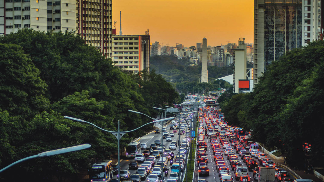 Heavy traffic in a street in Sao Paulo, Brazil