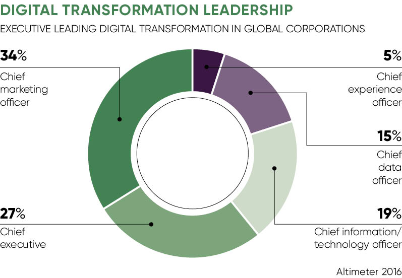 Doughnut chart about digital transformation leadership