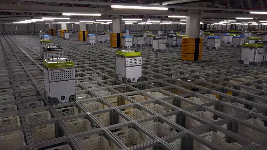 Robots in Ocado's distribution centre