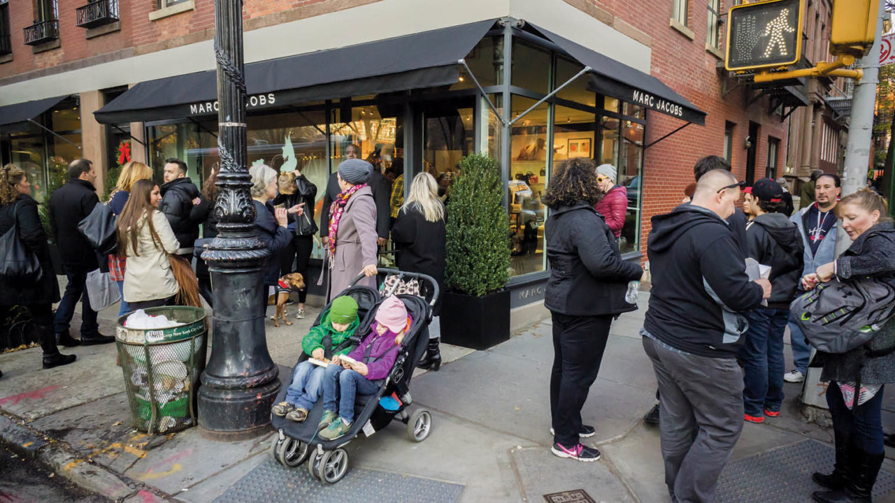 Shoppers outside Marc Jacobs in New York