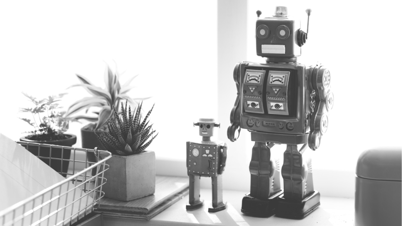 Toy robots in the office