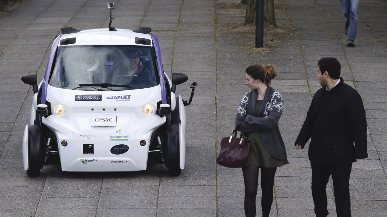 Autonomous vehicle testing during a media event in Milton Keynes