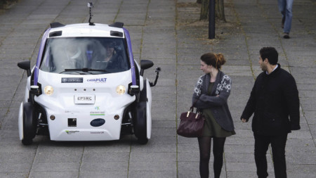 Autonomous vehicle testing during a media event in Milton Keynes
