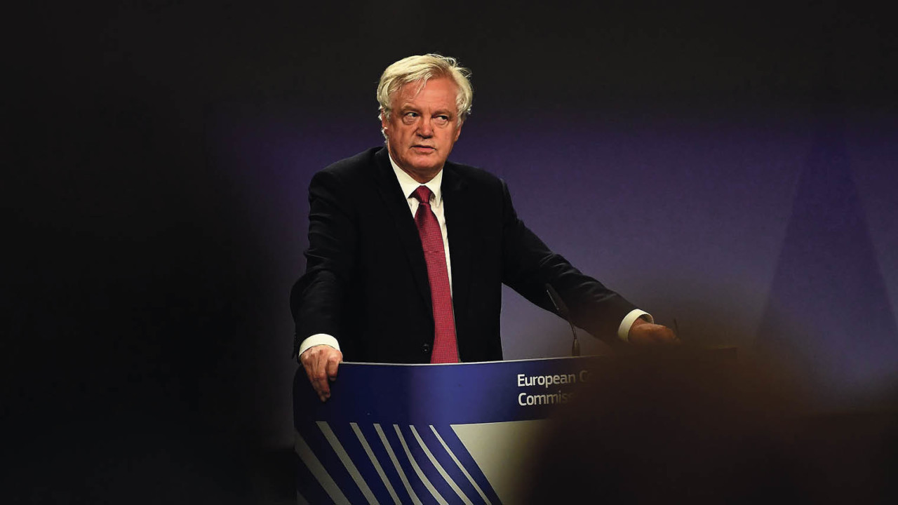 Brexit secretary David Davis on the first day of negotiations at the European Commission in Brussels