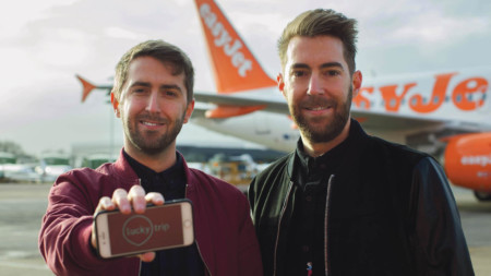 Brothers Tiff and Alex Burns, founders of LuckyTrip, a travel startup selected for easyJet's accelerator programme with Founders Factory