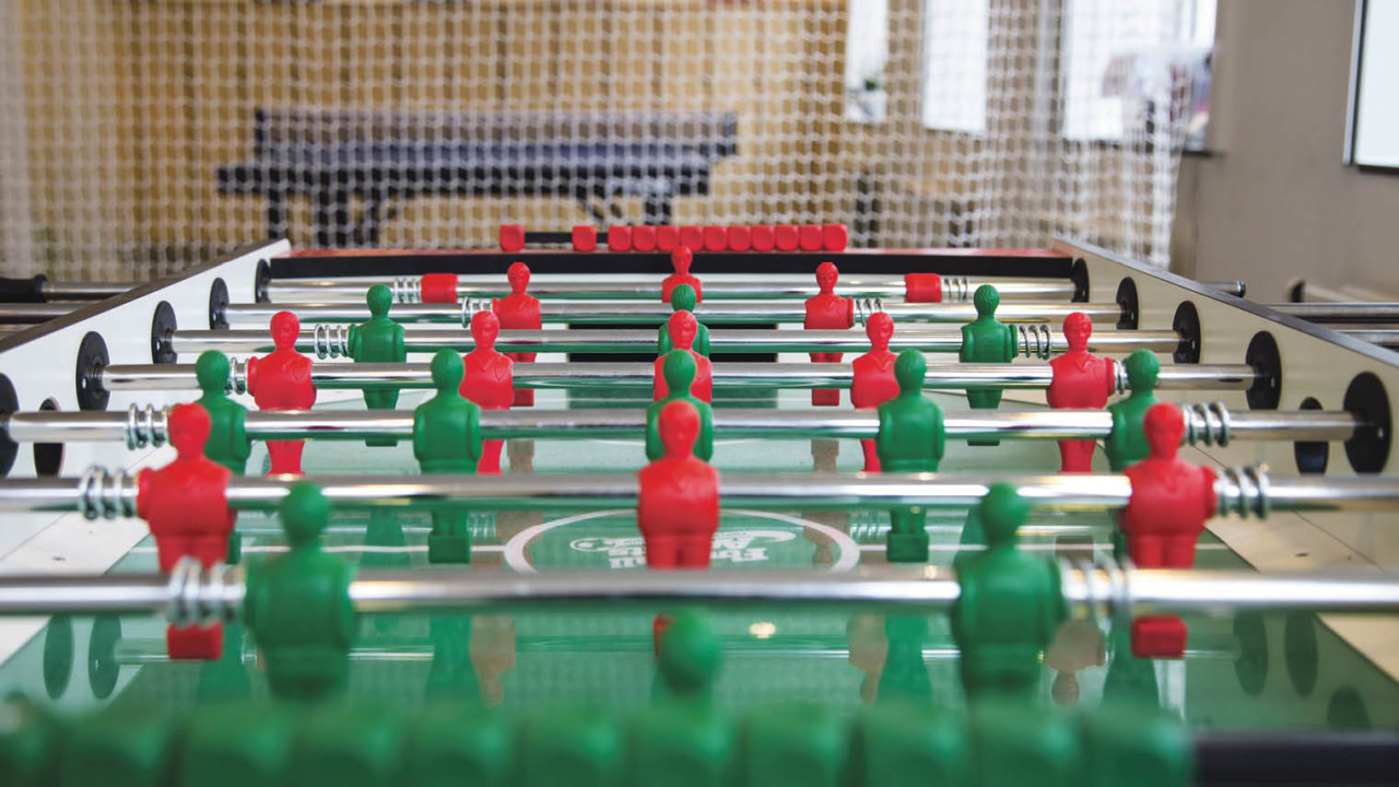 Forza Football's Gothenburg office houses a games room, shuffleboard table and ball pit