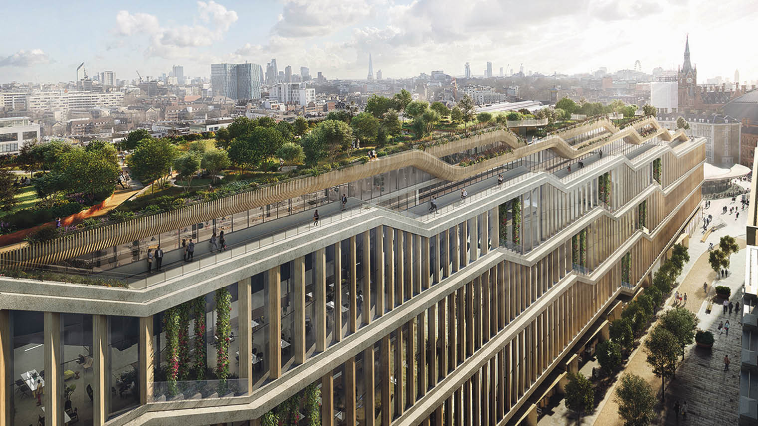 Google's planned London headquarters near King's Cross, designed by Heatherwick Studio and Bjarke Ingels Group
