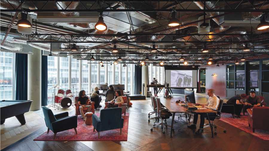 Microsoft's UK headquarters in London, designed by Gensler; the technology giant is a prime example of a large corporate that has opened up its working environment and adopted a flatter hierarchy