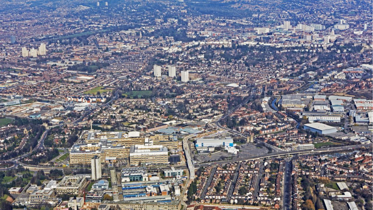 Birds eye view of cityscape of Nottingham