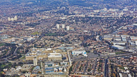 Birds eye view of cityscape of Nottingham