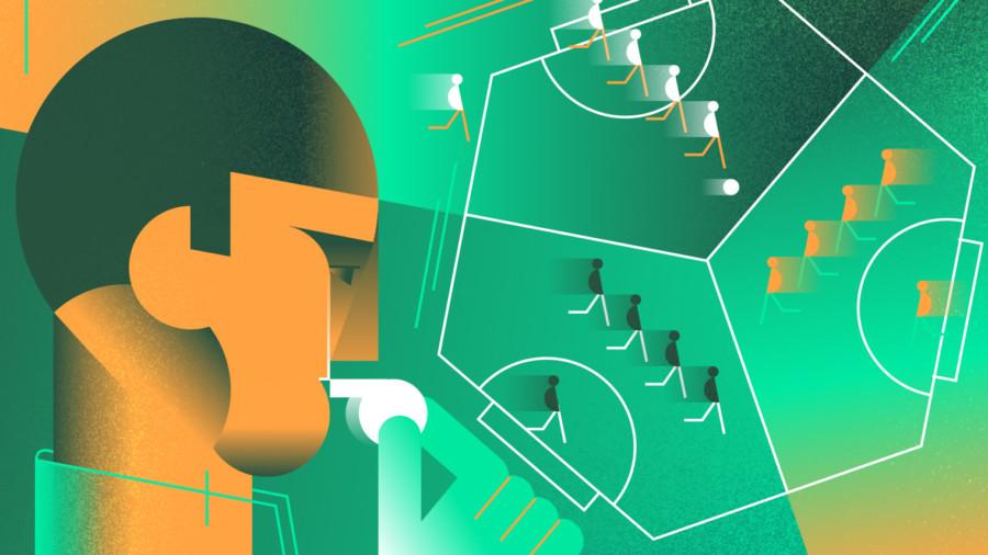 Three-sided football illustration