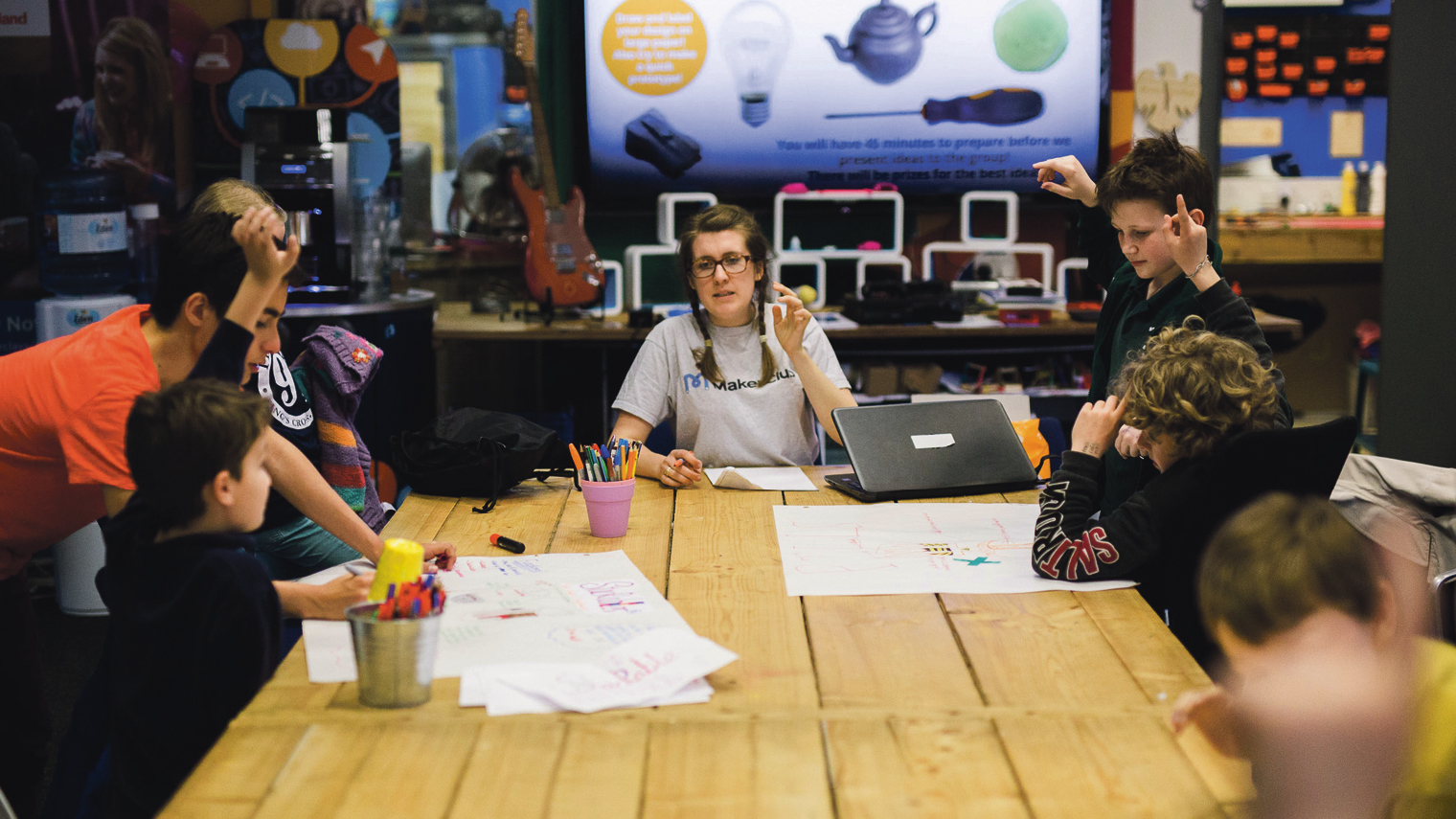 MakerClub takes after-school sessions to teach children aged nine to fourteen to build robots, use 3D printers and learn to code