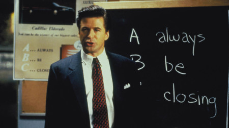 Alec Baldwin as obnoxious salesman Blake in the 1992 drama Glengarry Glen Ross