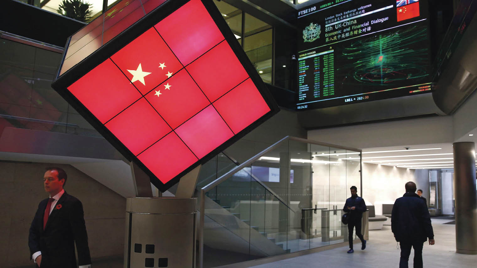 Chinese flag displayed at London Stock Exchange