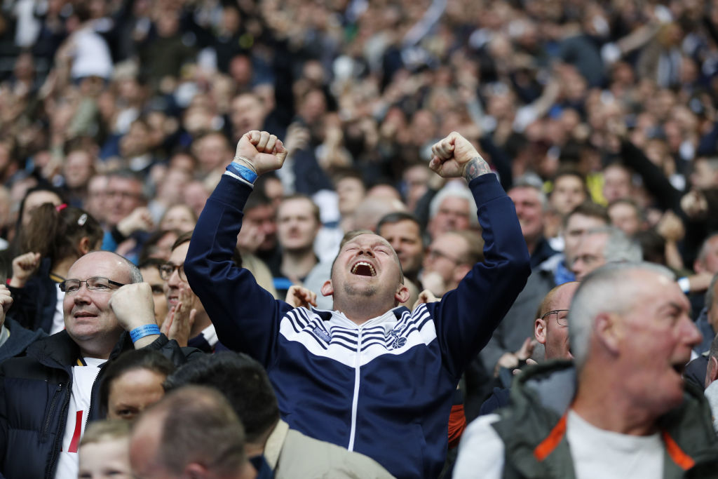 Football fan celebrating