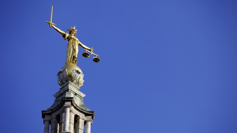 Scales of Justice above the Old Bailey Law Courts (Central Criminal Court)