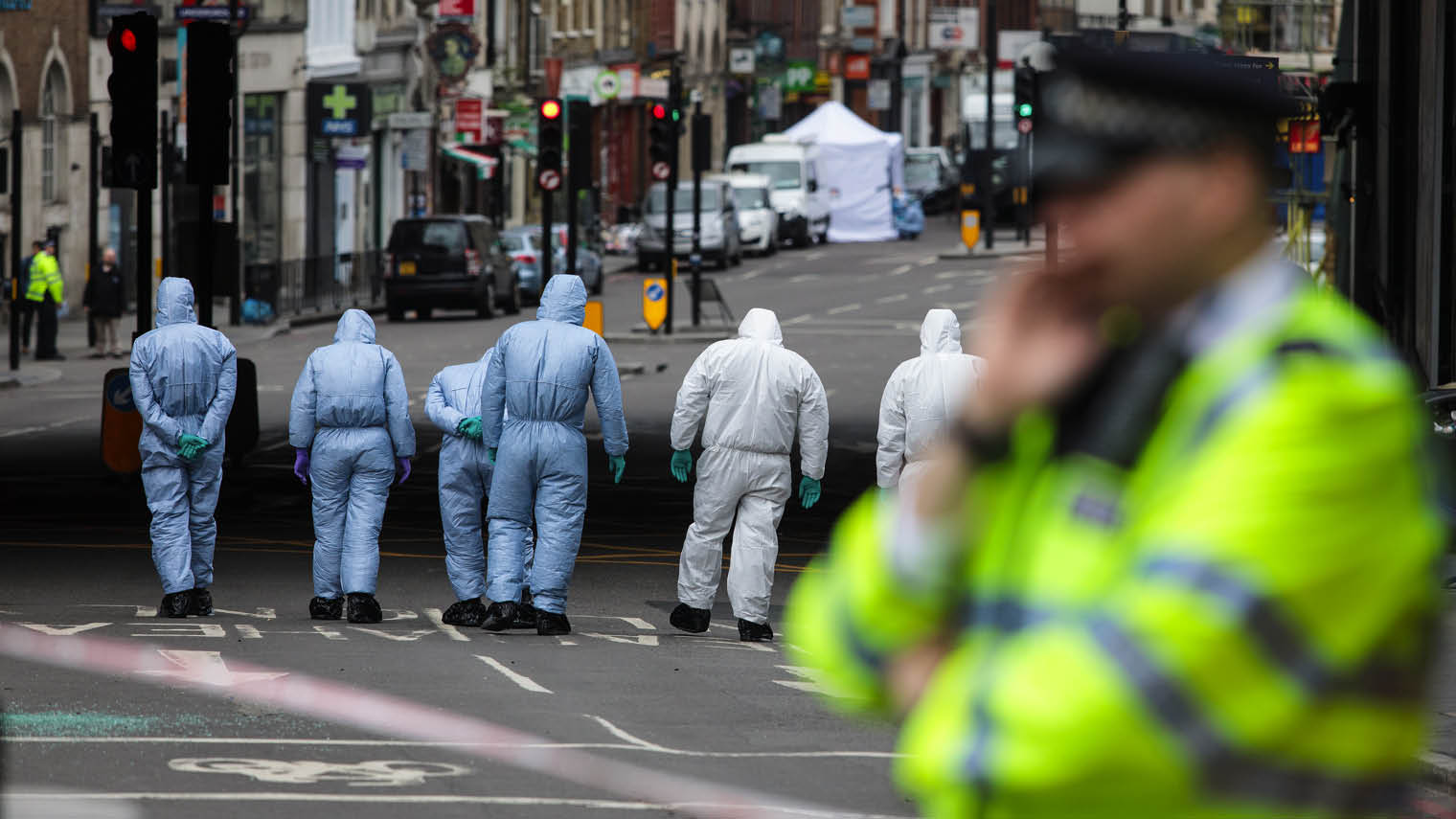 Forensic investigators at the London Bridge attack aftermath