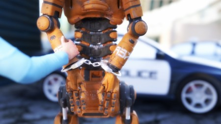 Arrested robot with handcuffs