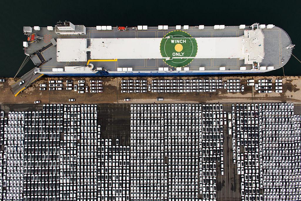 Aerial view ship car park