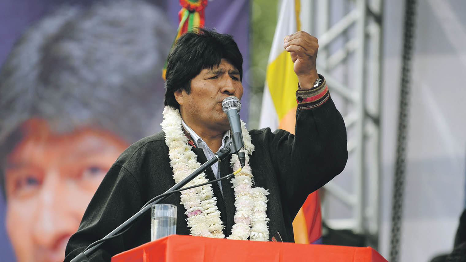 Bolivian president Evo Morales giving speech