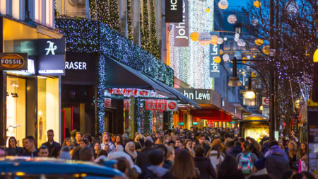 Christmas shopping on Oxford Street London