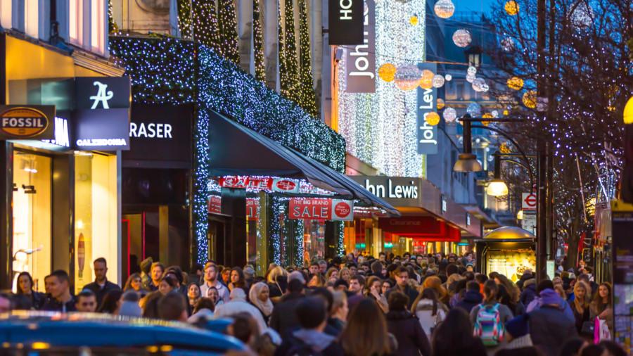 Christmas shopping on Oxford Street London