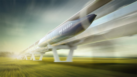 Artist͛s impression of Hardt Hyperloop high-speed transport moving across fields at high speed