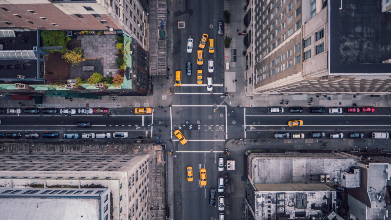 Aerial view of road in New York City