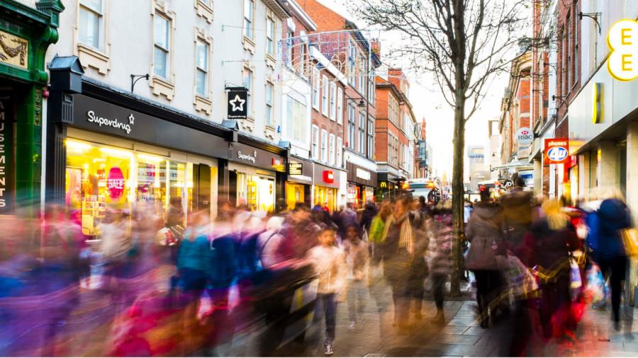 Pedestrians blurred