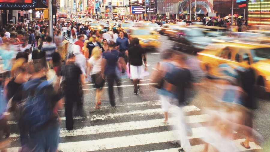 Pedestrians crossing road blurred