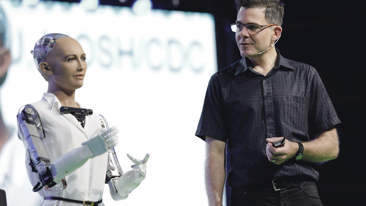 David Hanson with his Sophia robot