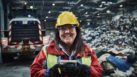 A Rentokil Initial pest controller at a recycling centre