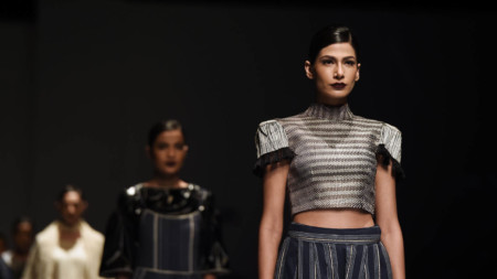 Indian fashion designer Abhi Singh's spring summer collection at the Amazon India Fashion Week in New Delhi in October