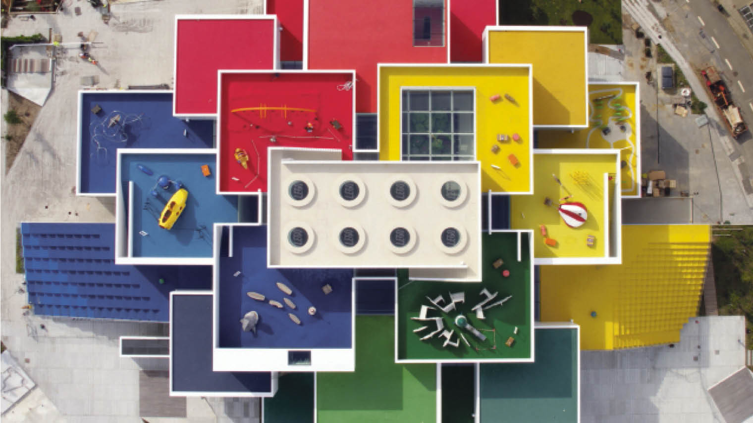 Lego House the brand's newly opened experience centre in Billund, Denmark aerial view