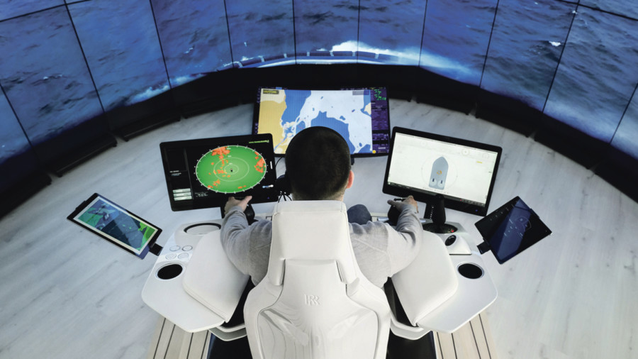 Man operating ship remotely