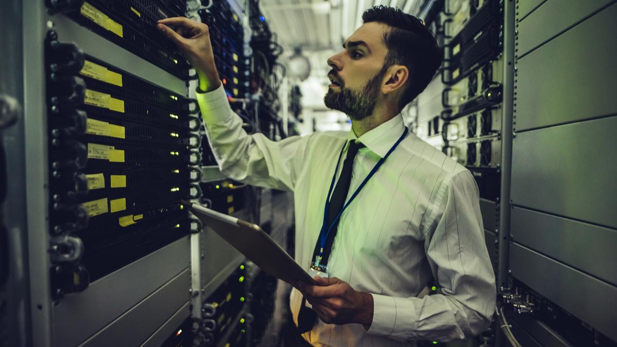 Man checking servers