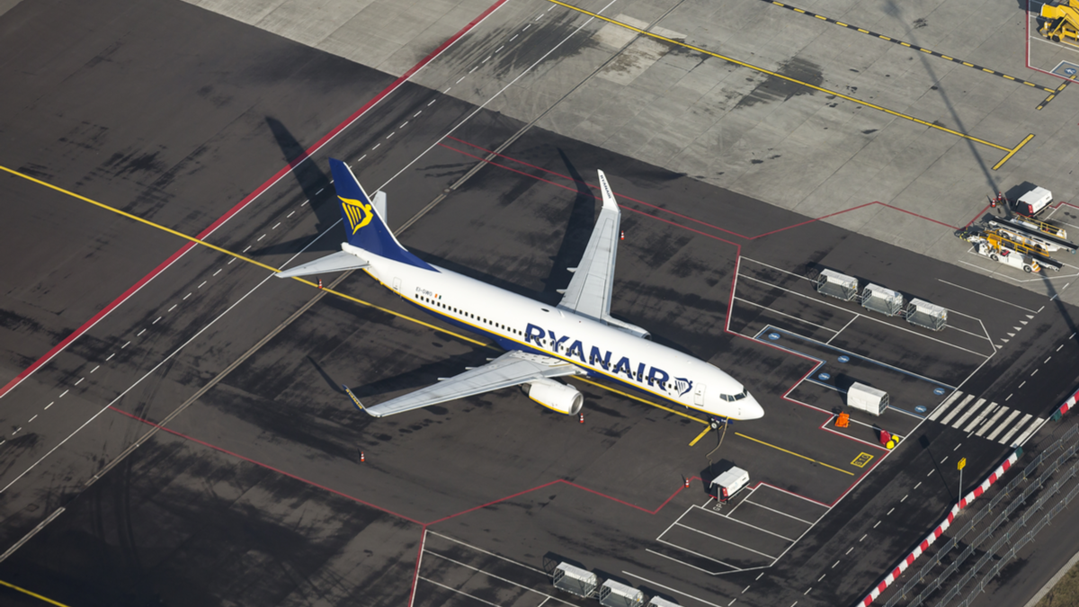 Ryan Air plane aerial view