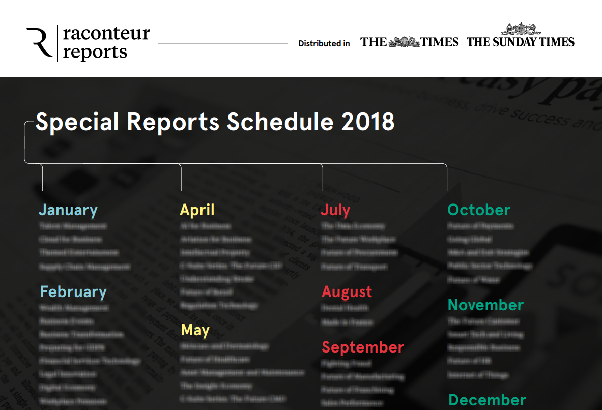 Raconteur Special Reports calendar 2018 image