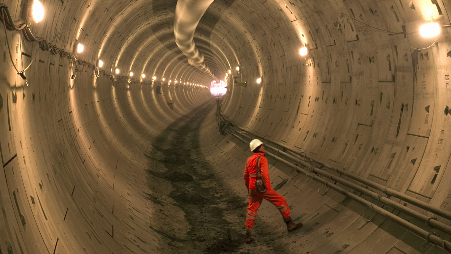 Construction worker in tunnel