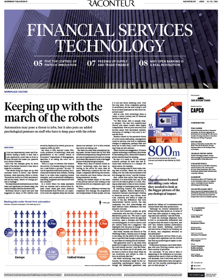 Financial Services Technology Special Report cover 2018