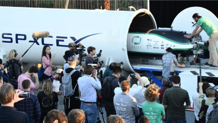 Prototype pods for the Hyperloop transportation system on display in California last year; the technology hopes to move passengers and freight up to 1,200km per hour, but is still some distance away from commercial development