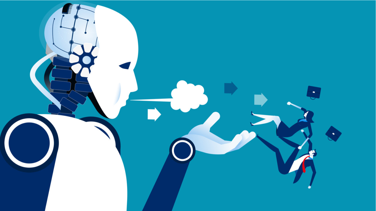 Illustration of robot taking over human jobs